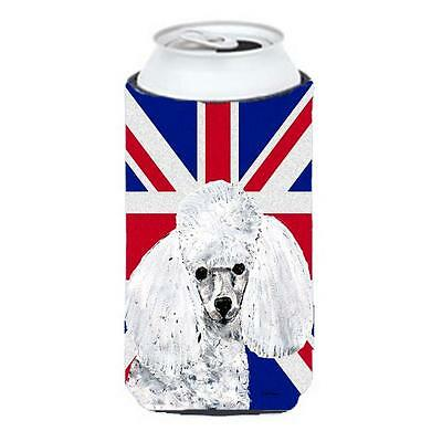 White Toy Poodle With English Union Jack British Flag Tall Boy bottle sleeve ...