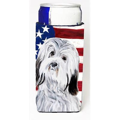 Havanese With American Flag Usa Michelob Ultra bottle sleeves Slim Cans 12 Oz.