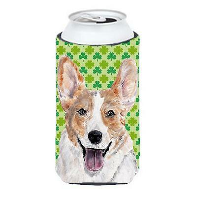 Cardigan Corgi Lucky Shamrock St. Patricks Day Tall Boy bottle sleeve Hugger ... • AUD 47.47