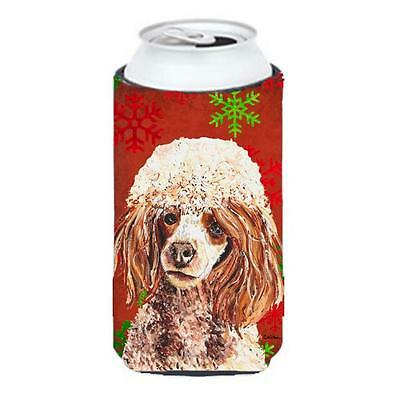 Red Miniature Poodle Red Snowflakes Holiday Tall Boy bottle sleeve Hugger 22 ...