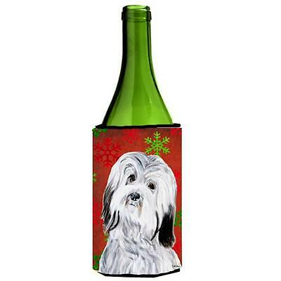 Havanese Red Snowflakes Holiday Wine bottle sleeve Hugger 24 Oz.