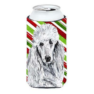 White Standard Poodle Candy Cane Christmas Tall Boy bottle sleeve Hugger 22 T...