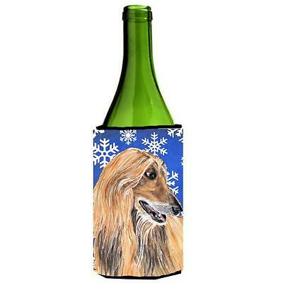 Afghan Hound Winter Snowflakes Holiday Wine bottle sleeve Hugger 24 Oz.
