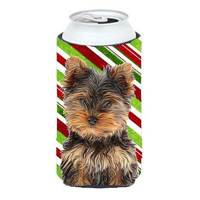 Candy Cane Holiday Christmas Yorkie Puppy & Yorkshire Terrier Tall Boy bottle...