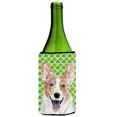 Cardigan Corgi Lucky Shamrock St. Patricks Day Wine bottle sleeve Hugger 24 Oz.