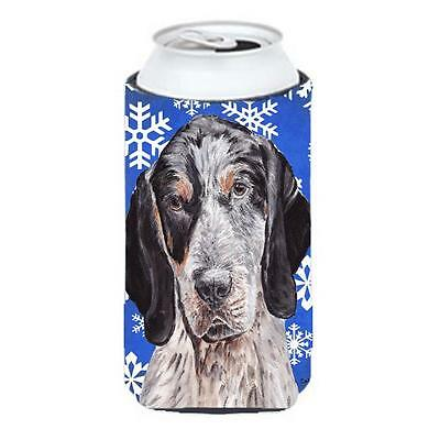 Blue Tick Coonhound Winter Snowflakes Tall Boy bottle sleeve Hugger 22 To 24 Oz.