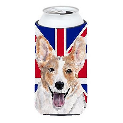 Cardigan Corgi With English Union Jack British Flag Tall Boy bottle sleeve Hu...