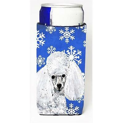 White Toy Poodle Winter Snowflakes Michelob Ultra bottle sleeves Slim Cans 12...