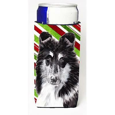 Black And White Collie Candy Cane Christmas Michelob Ultra bottle sleeves Sli...