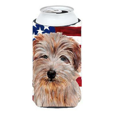 Norfolk Terrier With American Flag Usa Tall Boy bottle sleeve Hugger 22 To 24...