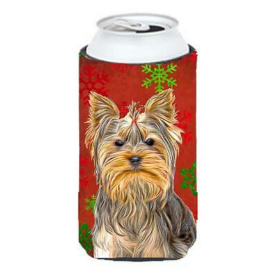 Red Snowflakes Holiday Christmas Yorkie & Yorkshire Terrier Tall Boy bottle s...
