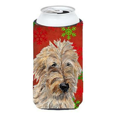 Golden Doodle 2 Red Snowflakes Holiday Tall Boy bottle sleeve Hugger 22 To 24...