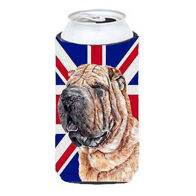Shar Pei With English Union Jack British Flag Tall Boy bottle sleeve Hugger 2...