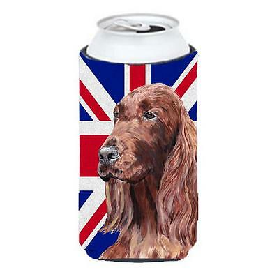Irish Setter With Engish Union Jack British Flag Tall Boy bottle sleeve Hugge...