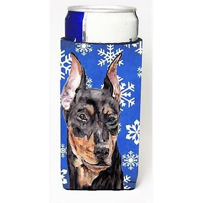 German Pinscher Winter Snowflakes Michelob Ultra bottle sleeves Slim Cans 12 Oz.