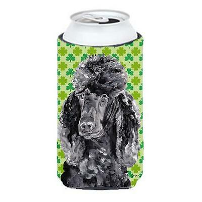 Black Standard Poodle Lucky Shamrock St. Patricks Day Tall Boy bottle sleeve ...