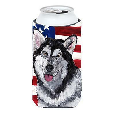 Alaskan Malamute USA Patriotic American Flag Tall Boy bottle sleeve Hugger 22...