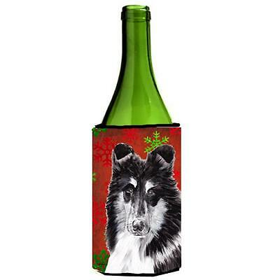 Black And White Collie Red Snowflakes Holiday Wine bottle sleeve Hugger 24 Oz.