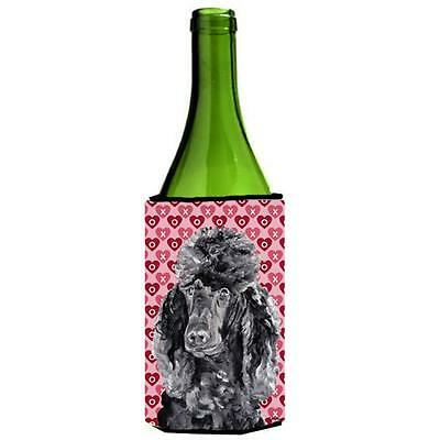 Black Standard Poodle Hearts And Love Wine bottle sleeve Hugger 24 Oz.