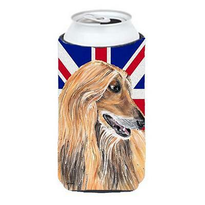 Afghan Hound With English Union Jack British Flag Tall Boy bottle sleeve Hugg...