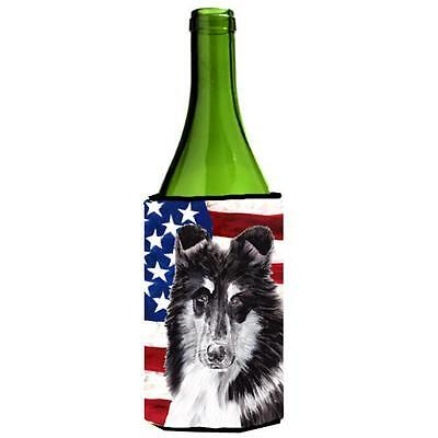 Black And White Collie With American Flag Usa Wine bottle sleeve Hugger 24 Oz.