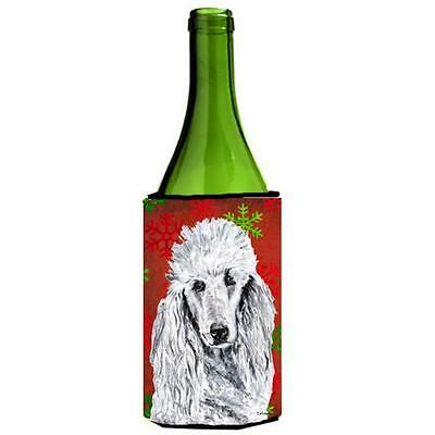 White Standard Poodle Red Snowflakes Holiday Wine bottle sleeve Hugger 24 Oz.