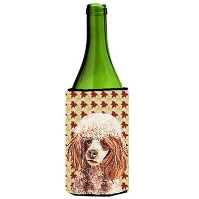 Red Miniature Poodle Fall Leaves Wine bottle sleeve Hugger 24 Oz.