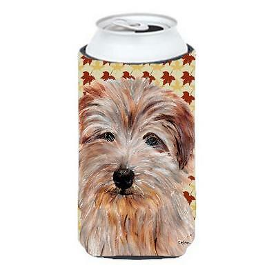 Norfolk Terrier Fall Leaves Tall Boy bottle sleeve Hugger 22 To 24 Oz.