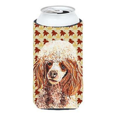 Red Miniature Poodle Fall Leaves Tall Boy bottle sleeve Hugger 22 To 24 Oz.