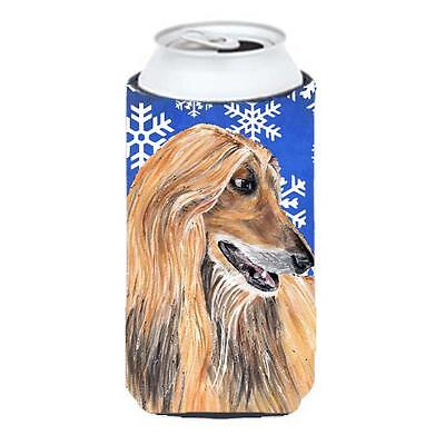 Afghan Hound Winter Snowflakes Holiday Tall Boy bottle sleeve Hugger 22 To 24...