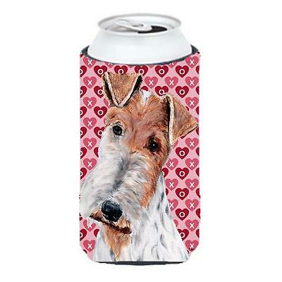 Wire Fox Terrier Hearts And Love Tall Boy bottle sleeve Hugger 22 To 24 Oz.
