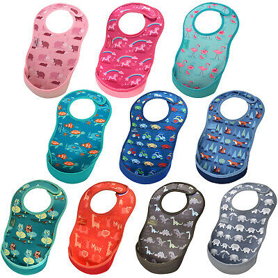 Bibetta UltraBib - neoprene waterproof feeding weaning baby bib pink blue green