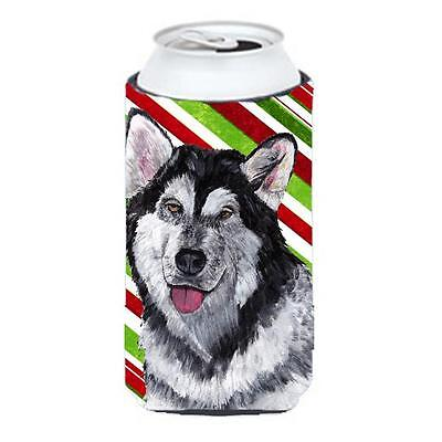 Alaskan Malamute Candy Cane Holiday Christmas Tall Boy bottle sleeve Hugger 2...
