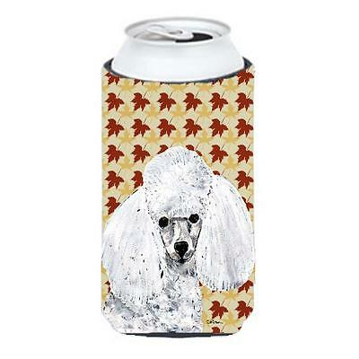 White Toy Poodle Fall Leaves Tall Boy bottle sleeve Hugger 22 To 24 Oz.