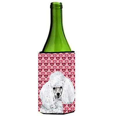 White Toy Poodle Hearts And Love Wine bottle sleeve Hugger 24 Oz.