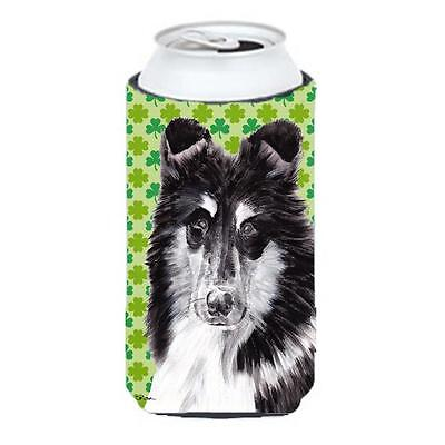 Black And White Collie Lucky Shamrock St. Patricks Day Tall Boy bottle sleeve...