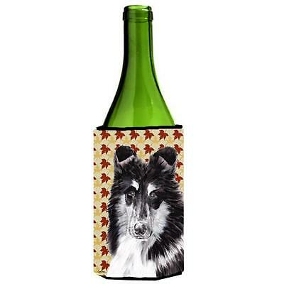 Black And White Collie Fall Leaves Wine bottle sleeve Hugger 24 Oz.