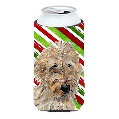 Golden Doodle 2 Candy Cane Christmas Tall Boy bottle sleeve Hugger 22 To 24 Oz.