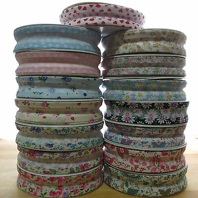1m PATTERNED FLORAL HEART CHECK PRINT 25mm COTTON BIAS BINDING TAPE 51 DESIGNS