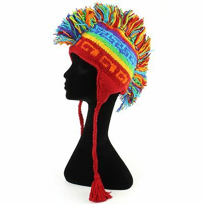 Mohawk Punk Hat Wool Festival Earflap Beanie Lined Fleece Knit Rainbow Pattern