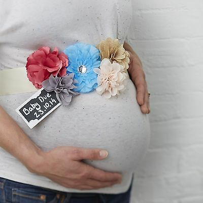 Floral Mum to be sash with due date tag - perfect for a Baby Shower