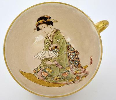Meiji Japanese Satsuma Cup & Saucer Geisha Marked Kinkozan Painted by Ikko Ga