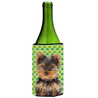St. Patricks Day Shamrock Yorkie Puppy & Yorkshire Terrier Wine bottle sleeve...