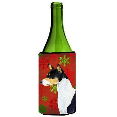 Basenji Red And Green Snowflakes Holiday Christmas Wine bottle sleeve 24 oz.