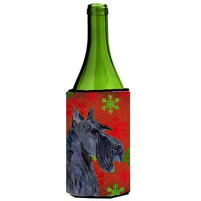 Scottish Terrier Red And Green Snowflakes Holiday Christmas Wine bottle sleeve