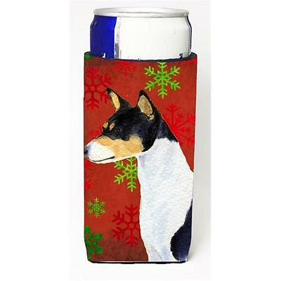 Basenji Red And Green Snowflakes Holiday Christmas Michelob Ultra bottle slee...