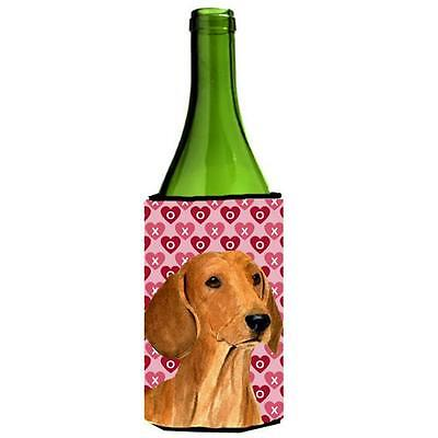 Dachshund Hearts Love And Valentines Day Portrait Wine bottle sleeve Hugger 2...