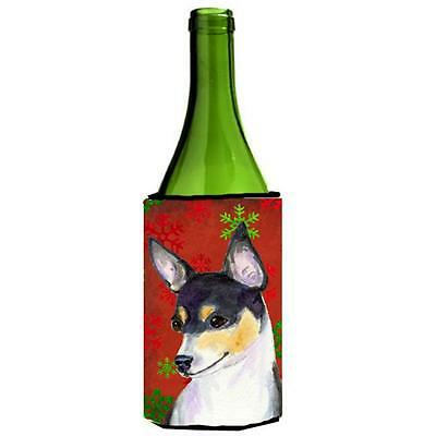 Chihuahua Red And Green Snowflakes Holiday Christmas Wine bottle sleeve 24 oz.