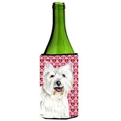 Westie Hearts Love and Valentines Day Portrait Wine bottle sleeve Hugger 24 oz.