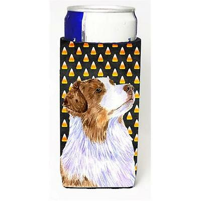 Australian Shepherd Candy Corn Halloween Portrait Michelob Ultra bottle sleev...